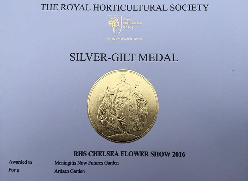 Meningitis Now Futures Garden wins Silver-Gilt RHS Medal