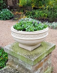 Cast stone Hurlingham club planter on a wall planted with spring plants