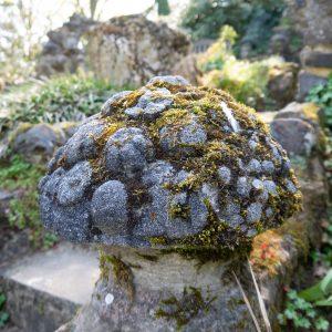 Aged Cast Stone Mushroom Garden Ornament